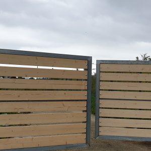 wood infill metal gate